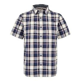 Clane Slub Check Short Sleeve Shirt Blue Indigo