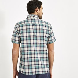 Clane Slub Check Short Sleeve Shirt Mineral Blue