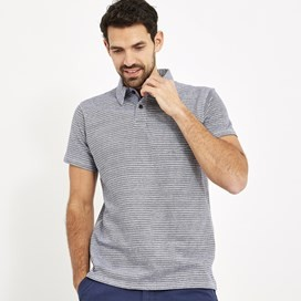 Lydney Cotton Grindle Fine Stripe Polo Dark Navy
