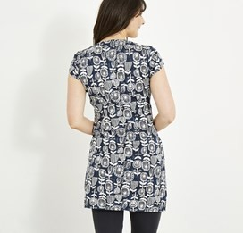Alanis Printed Stretch Tunic Dark Navy