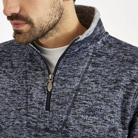 Tyrone 1/4 Zip Herringbone Fleece  Dark Navy