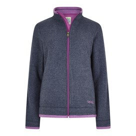 Ariana Full Zip Grid Fleece Dark Navy