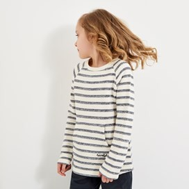 May Stripe Crew Slub Top Dark Navy