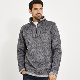 Tyrone 1/4 Zip Herringbone Fleece Charcoal Grey