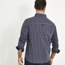 Blakely Long Sleeve Gingham Check Shirt Grey