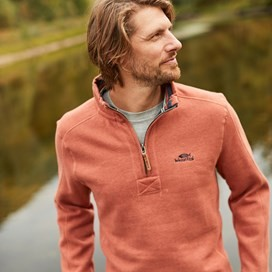 Alyth 1/4 Zip Sweatshirt Brick Orange