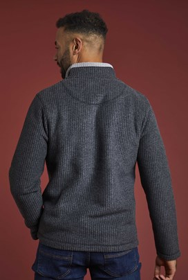 Newark 1/4 Zip Grid Fleece Sweatshirt Washed Black