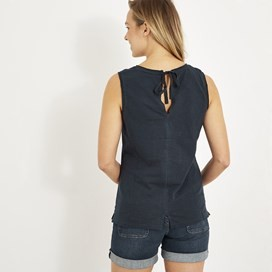 Berti Slub Cotton Vest Dark Navy