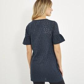 Kenza Embroidered Jersey Tunic Dark Navy