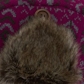 Gallagher Fair Isle Knit Trapper Hat Raspberry