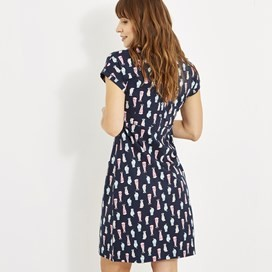 Tallahassee Printed Jersey Dress Navy Blue