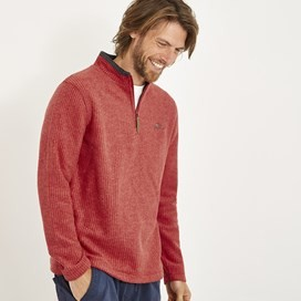 Newark 1/4 Zip Grid Fleece Sweatshirt Dark Red