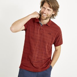 Baskin Jacquard Striped Polo Shirt Retro Red