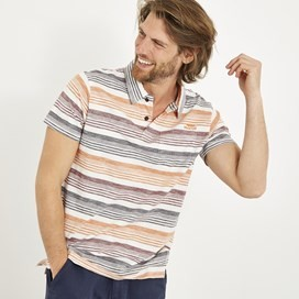 Lowick Cotton Grindle Stripe Polo Pumpkin