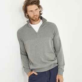 Kai Cotton 1/4 Zip Grey Marl