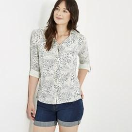 Ginny Printed Cotton Jersey Shirt Light Cream