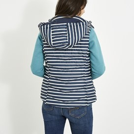 Leona Striped Wadded Gilet Dark Navy