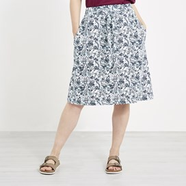 Zahra Printed Midi Skirt White