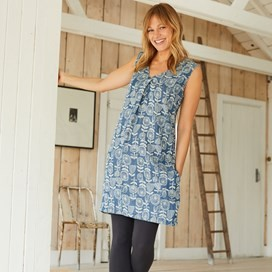 Henley Printed Tencel Tunic Denim
