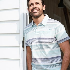 Lowick Cotton Grindle Stripe Polo Mineral Blue
