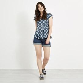 Cleo  Printed Jersey T-Shirt Dark Navy