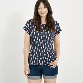 Paw Paw Printed Jersey T-Shirt Navy Blue