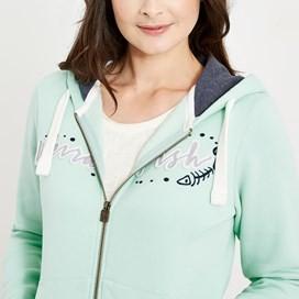 Corinne Branded Full Zip Hoodie Honeydew