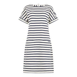 Etta Striped Jersey Dress Light Cream