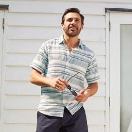 Cyrus Short Sleeve Stripe Linen Shirt Denim