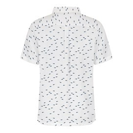 Hawes Short Sleeve Printed  Linen Shirt Dusty White