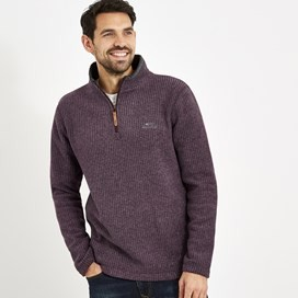 Newark 1/4 Zip Grid Fleece Sweatshirt Dark Wine