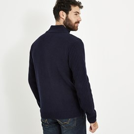 Longford Lambswool Blend Knitted Full Zip Jumper Dark Navy