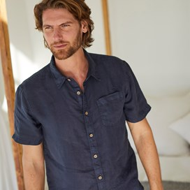 Woody Short Sleeve Linen Shirt Dark Navy