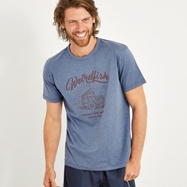 Surf School Branded Print T-Shirt Blue Indigo Marl