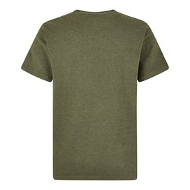 Fished Plain Branded T-Shirt Dark Olive Marl