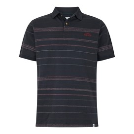 Draycott Stripe Jacquard Polo Shirt Washed Black