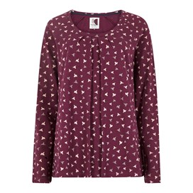 Grace Printed Slub Jersey T-Shirt Purple Potion