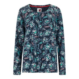 Grace Patterned Cotton Jersey T-Shirt Navy Blue