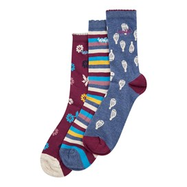 Parade Patterned Sock 3 Pack Dark Navy