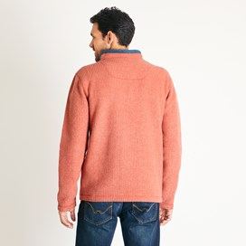 Newark 1/4 Zip Grid Fleece Sweatshirt Dark Rust