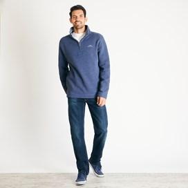 Knock 1/4 Zip Branded Fleece Sweatshirt Navy Marl