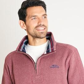 Knock 1/4 Zip Branded Fleece Sweatshirt Henna Marl