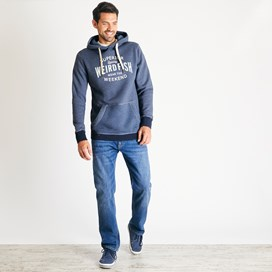 Kylian Graphic Print Hooded Sweatshirt Navy Marl
