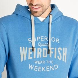 Kylian Graphic Print Hooded Sweatshirt Copen Blue Marl