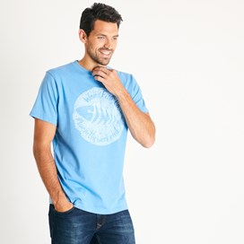 Woodcut Branded T-Shirt Copen Blue Marl