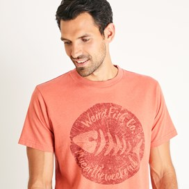 Woodcut Branded T-Shirt Dark Rust Marl
