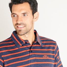 Trippier Branded Striped Polo Navy Marl