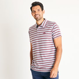 Trippier Branded Striped Polo Gunmetal Marl