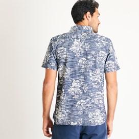 Florian Patterned Short Sleeve Shirt Navy