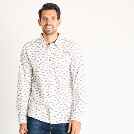 Antoine Patterned Long Sleeve Cotton Shirt Dusty White